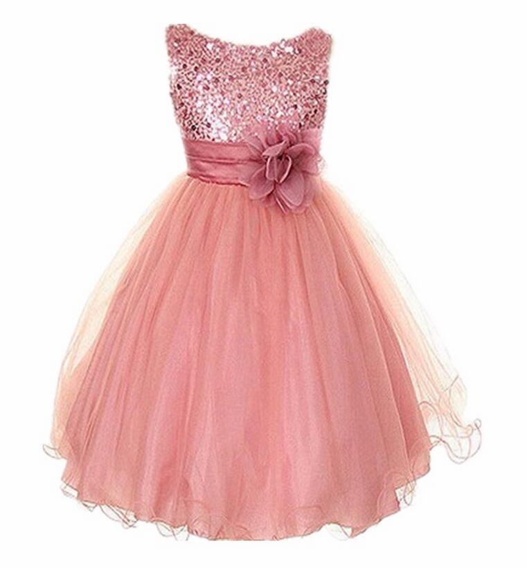 dresses for kids 3-14yrs summer clothes cute flower girls dress sequined mesh girl clothing  sleeveless princess dresses UULYTCM