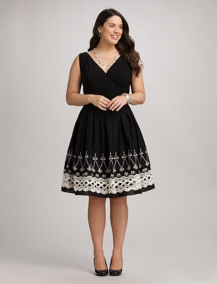 dresses for plus size women plus size embroidered fit-and-flare dress, @ dressbarn HWXBLGY