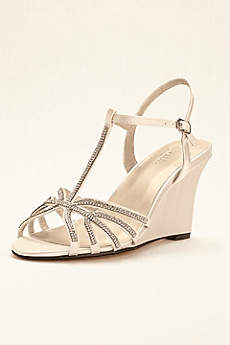 dyeable shoes davidu0027s bridal black sandals (crystal t-strap satin dyeable wedge) VJINSPF