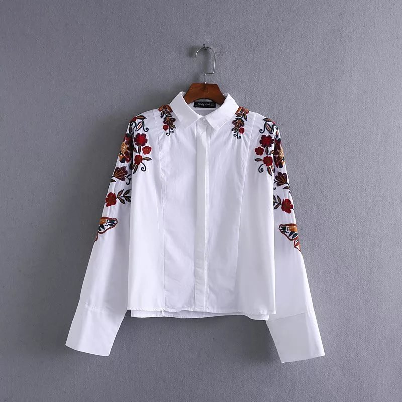 embroidered shirts 2017 europe and the united states fashion butterfly flower embroidery  embroidered shirt blouse turn OHNECTT