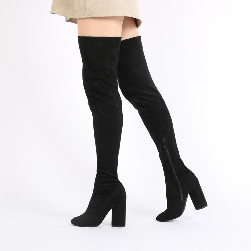 eve round heel long boots in black faux suede YTQZEYN