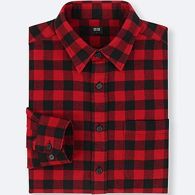 flannel shirts for men men flannel checked long-sleeve shirt, red, medium SGLJYNY