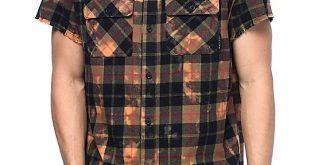 flannel shirts for men ninth hall pablo black u0026 bleached short sleeve flannel shirt NZZXYUB