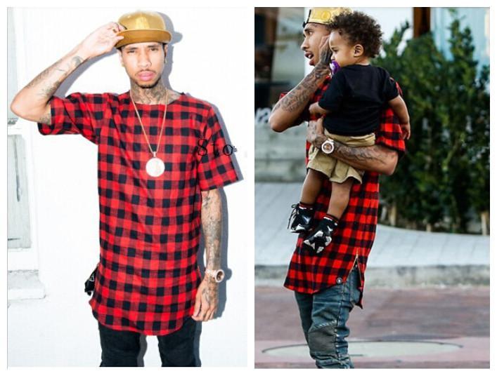 flannel shirts for men summer hip hop red plaids cotton flannel t shirts for men / gold zipper UQPPKES