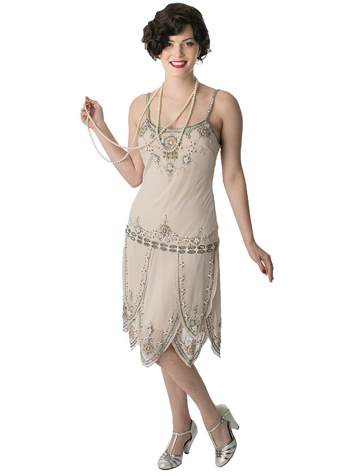 flapper dresses 1920s flapper style beaded champagne dress ODCFIHE