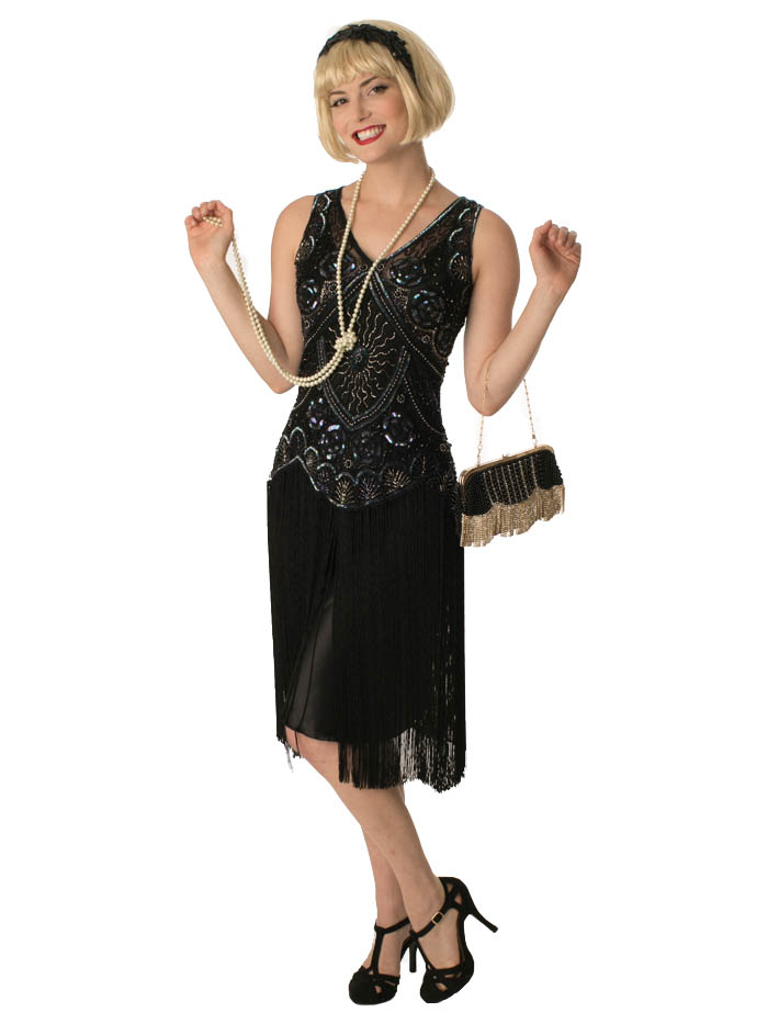 flapper dresses 1920s style beaded black fringe jazz baby flapper dress ... CUVFUND