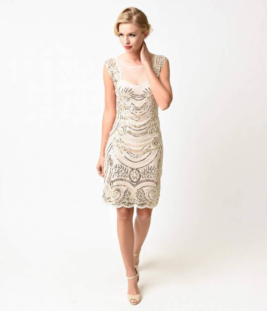 flapper dresses 1920s style cream u0026 gold beaded deco illusion short flapper dress FMVTEDE