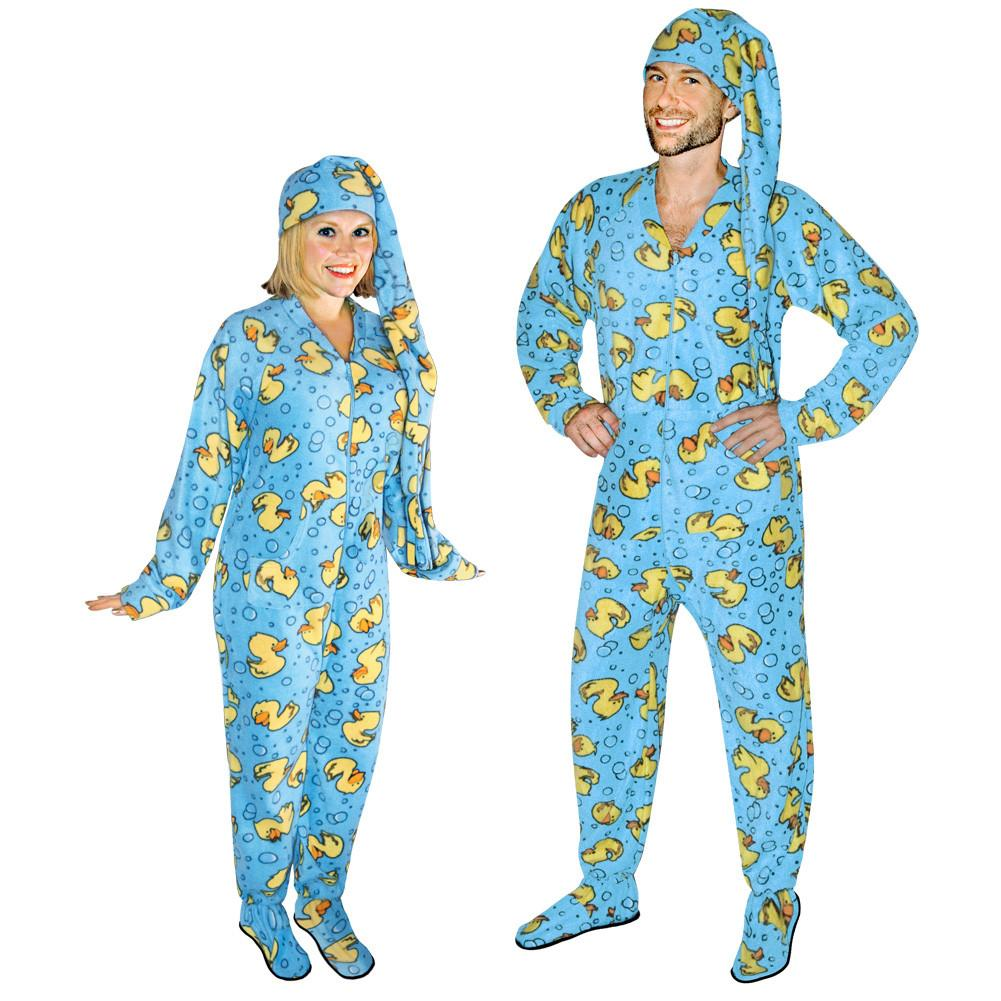 footie pajamas rubber ducks footed pajamas for adults with drop seat and long night cap,  pajama EICDCQW