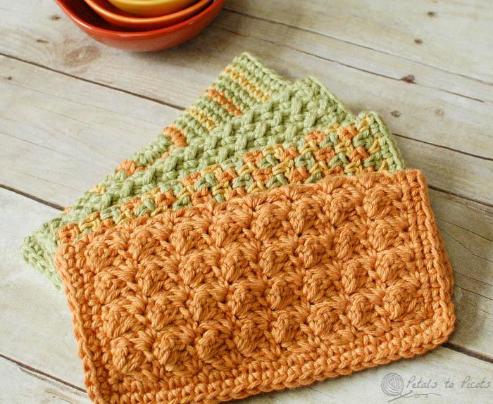 free crochet dishcloth patterns crochet dishcloths u2026 4 quick and easy crochet dishcloths patterns |  www.petalstopicots.com XQXTATI