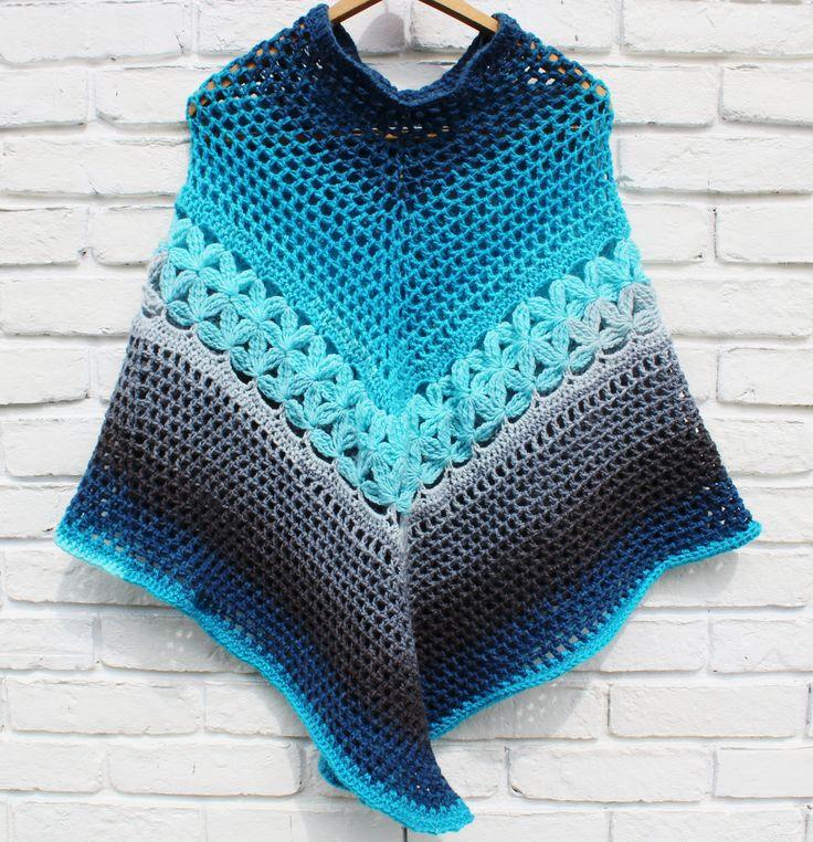 free crochet poncho patterns free crochet poncho pattern, crochet pattern with mandala caron yarn cake.  easy to follow LHBPRHE