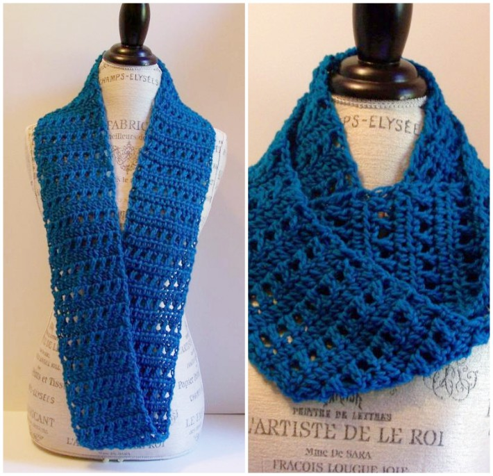 free scarf crochet patterns free one skein crochet scarf pattern - blue infinity YMOPLHJ