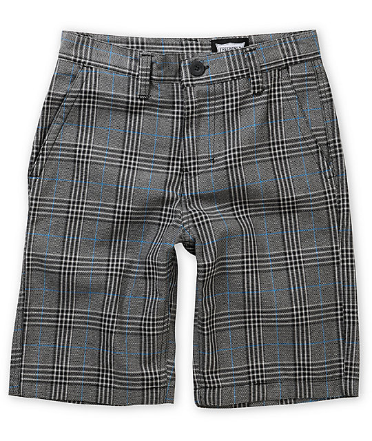 free world burbank black, blue u0026 grey plaid shorts IYXFWMV