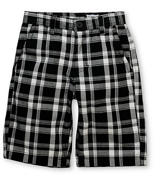 free world flint boys black plaid shorts BYTLUJF