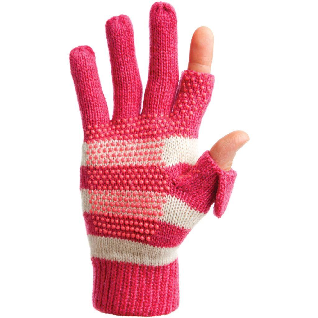 freehands womenu0027s stripe wool knit gloves … FBKHTKJ