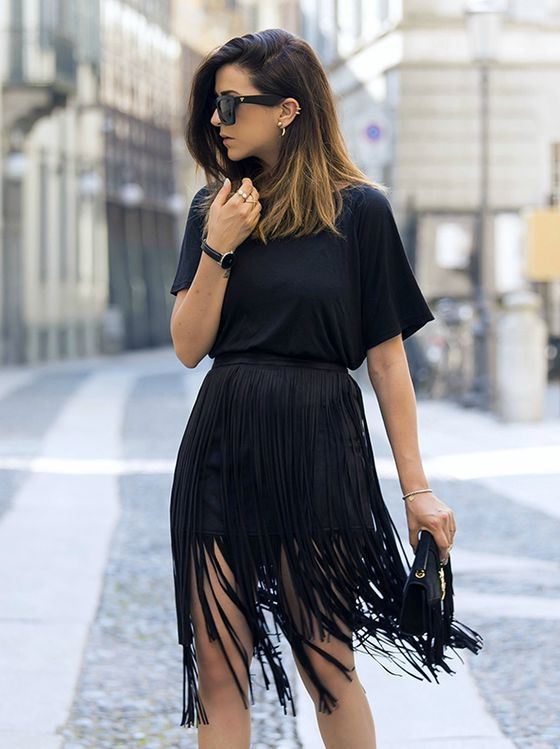 fringe skirt black mini skirt embellished with long fringes is worn with a black  t-shirt. would FYKZZMM
