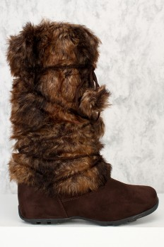 furry boots brown strap wrap around snow boots faux fur suede HGKGTUB