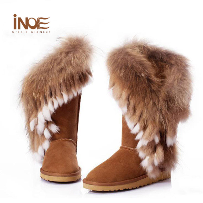 furry boots inoe real fox fur boots natural rabbit fur womens leather furry winter boots  shoes DBCFKQA