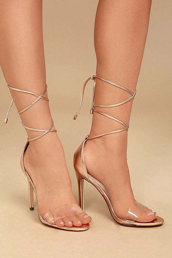 gold heels ledah rose gold lace-up heels 1 LZIKIFY