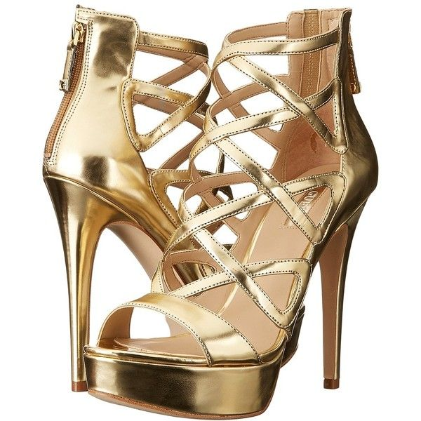 gold high heels guess kadani (gold) high heels ($99) ❤ liked on polyvore featuring shoes BUNKITP