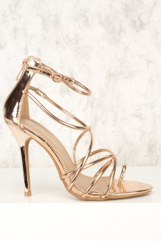 gold high heels sexy rose gold strappy open toe high heels patent PYILXPR