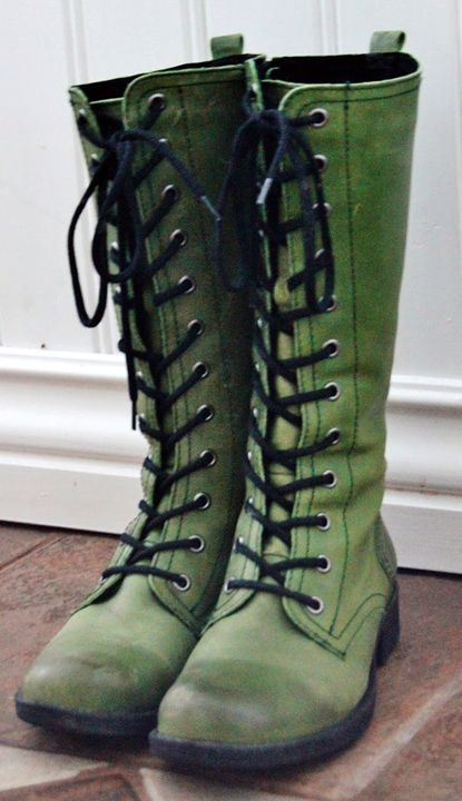 green boots worn, green, lace-up boots UXMMYPQ