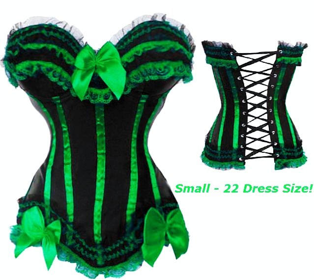 green corset - green black corset with green trim s-6x (more colors! XJAZTZP