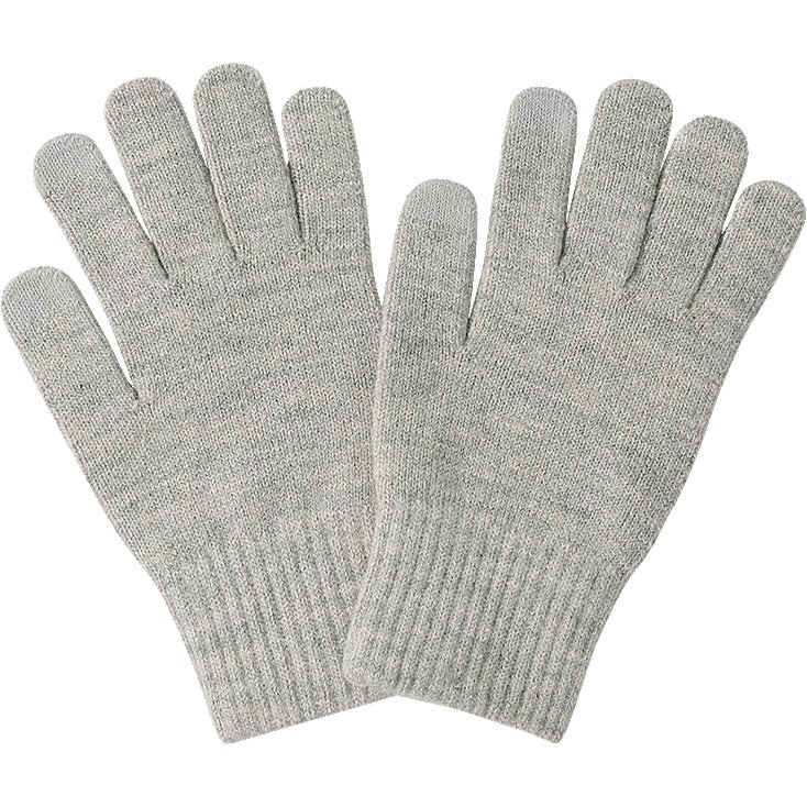 heattech knitted gloves, light gray, large IZFGWSC