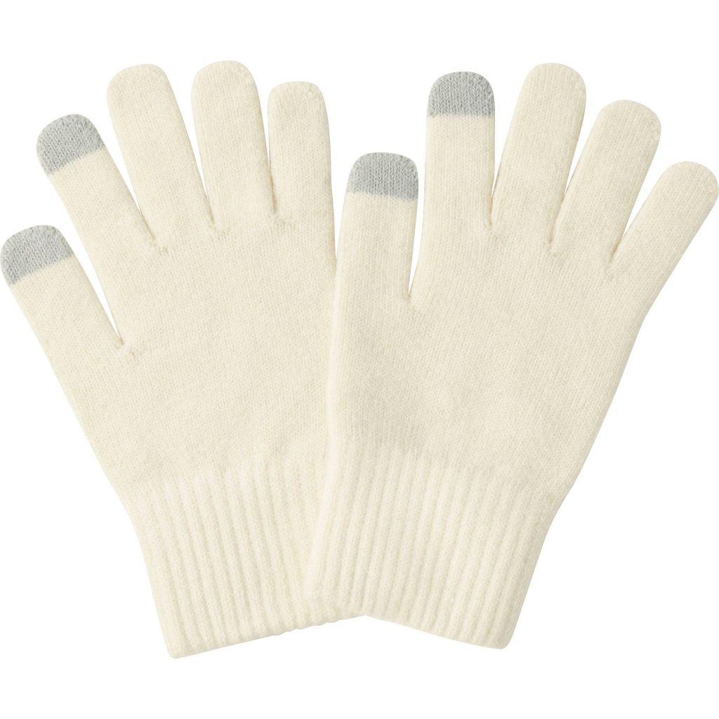 heattech knitted gloves, light gray, small MDKRMNK