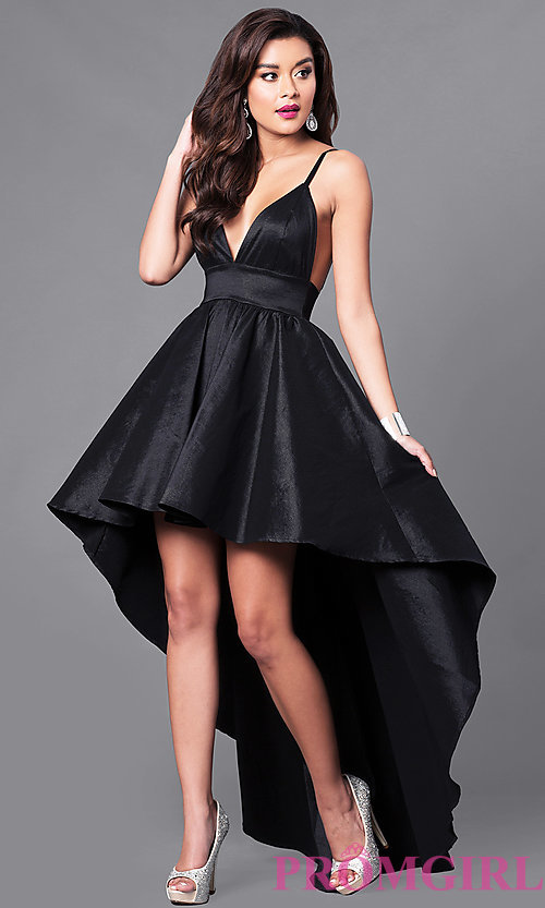 high low prom dresses image of black high-low v-neck prom dress with empire-waist. WDWVOTI