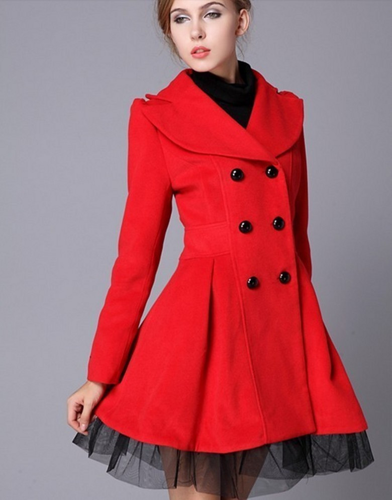 high quality fashion wool long winter dress coat for women - red BFOARIS