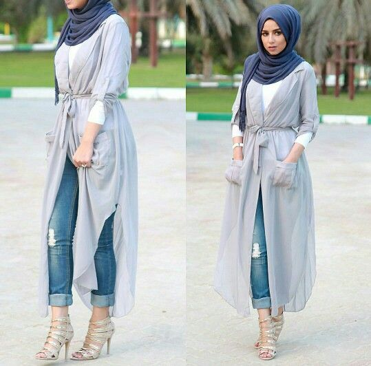 hijab fashion hijab style with a gauzy wrap dress over jeans and a long sleeve shirt VATYLTY
