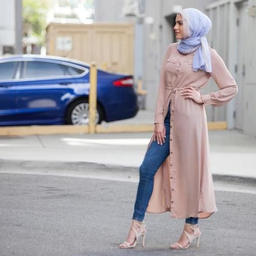 2bbe1a6047af8 hijab fashion long blush open dress hijab-street fashion style - just  trendy girls CHDZUPK