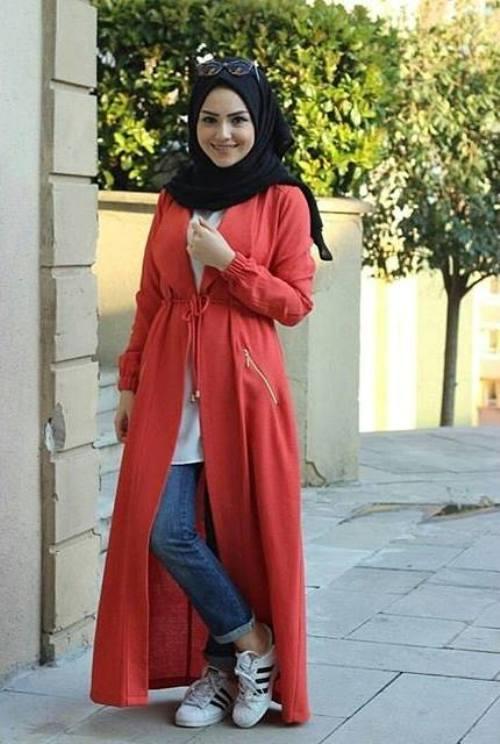 hijab fashion long red cardigan hijab PARRNKB