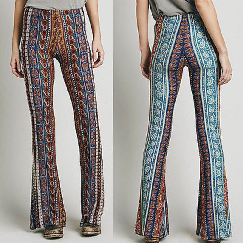hippie pants online shop new vintage high waist bell bottom long flare pants stretchy  boho hippie CUJQYLT