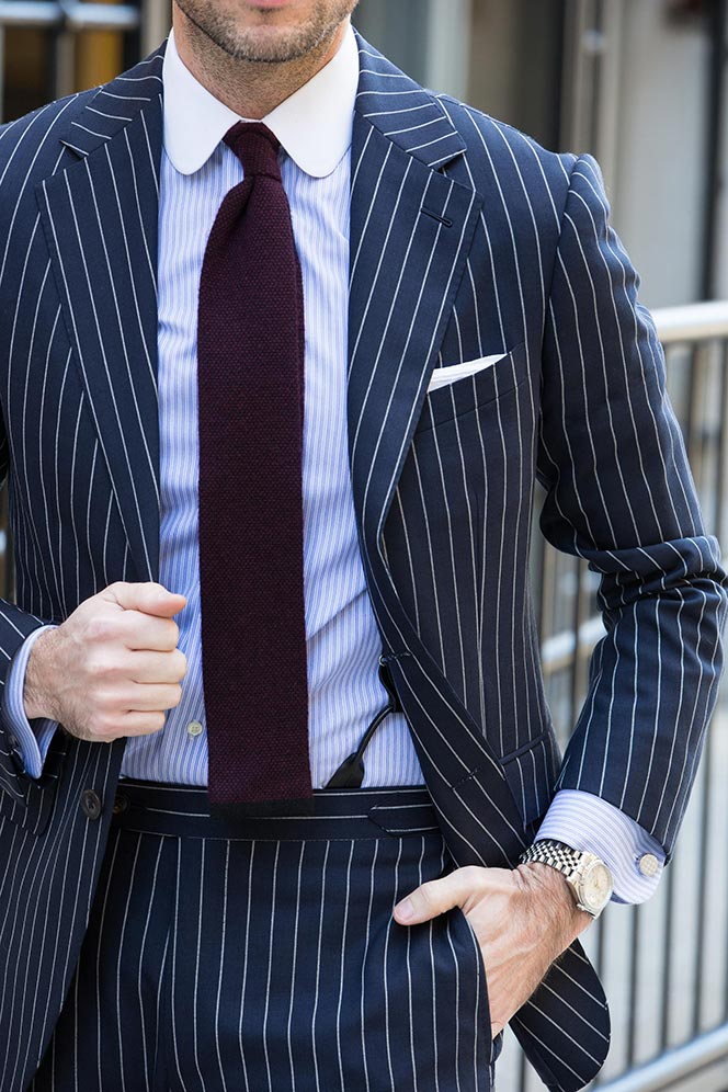 how to wear a blue pinstripe suit in the spring - he spoke style KWIAAHF