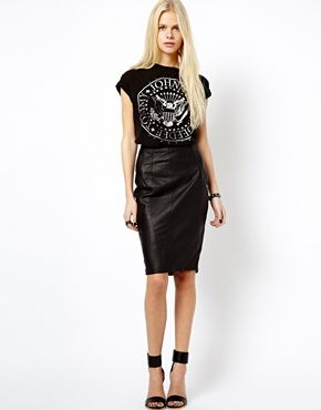 image 1 of mango leather pencil skirt ORVPUHH