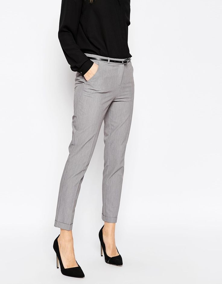 image 4 of asos cigarette pants with belt BJVQNAM