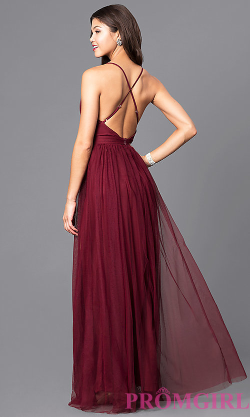 image of long sexy prom dress with deep v-neckline. style: lux- LWGTMIA