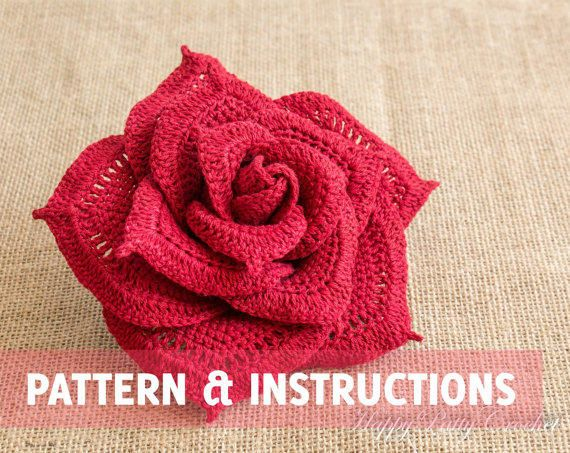 items similar to large crochet rose flower - centerpiece crochet flower -  bouquet flower CIJTGOB