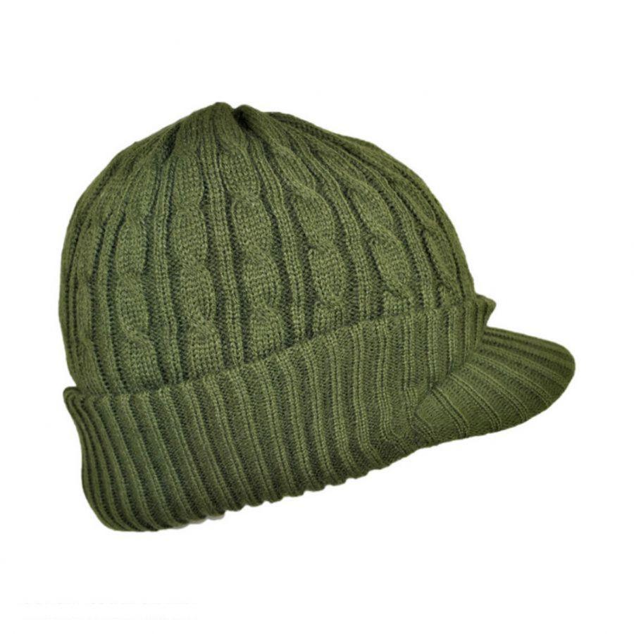 jaxon hats cable knit acrylic visor beanie hat QMFTCLV