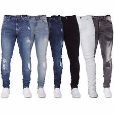 jeans for men new enzo mens stretch super skinny ripped blue black jeans denim summer  fashion BXIQJNM
