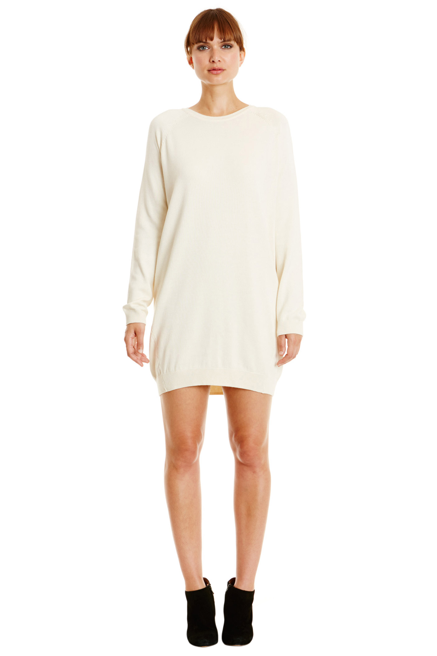 keisha knitted dress in winter white ANRRTDF