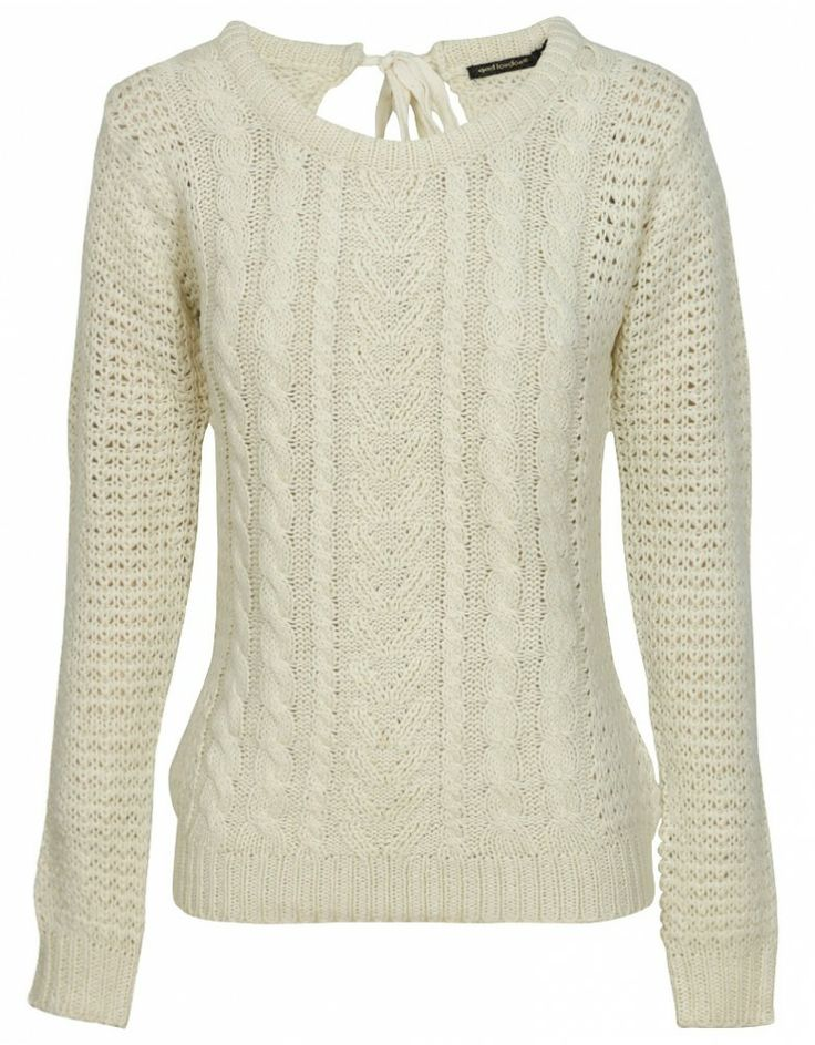 keyhole detail chunky cable knit jumper in cream OJJXTUS