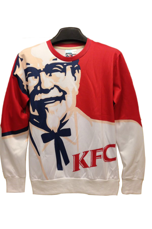 kfc founder print red sweatshirts cool sweatshirts PFJIGKO