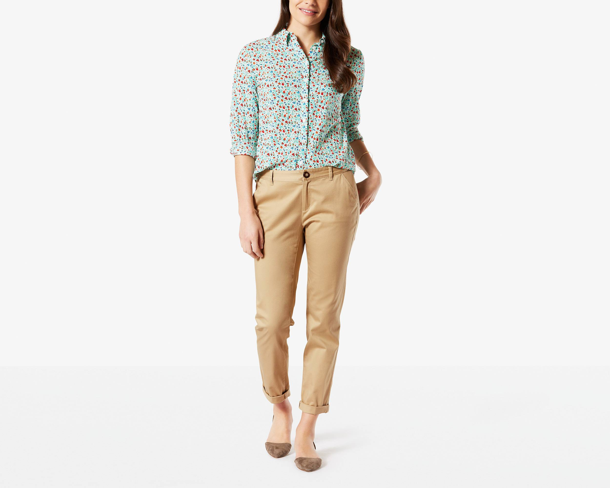 Contemporary khaki pants for women