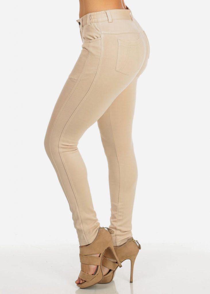 khaki pants for women womens juniors khaki low rise solid skinny moleton pants 10624v KCLSRSU