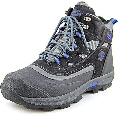 khombu boots khombu menu0027s fleet hiker terrain weather rated winter boots snow grey/blue  ... QMWMAKM