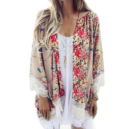 kimono cardigan zeamo women ethnic lace floral lace flowy sheer crop sleeves loose chiffon kimono  cardigan GJCVQWX
