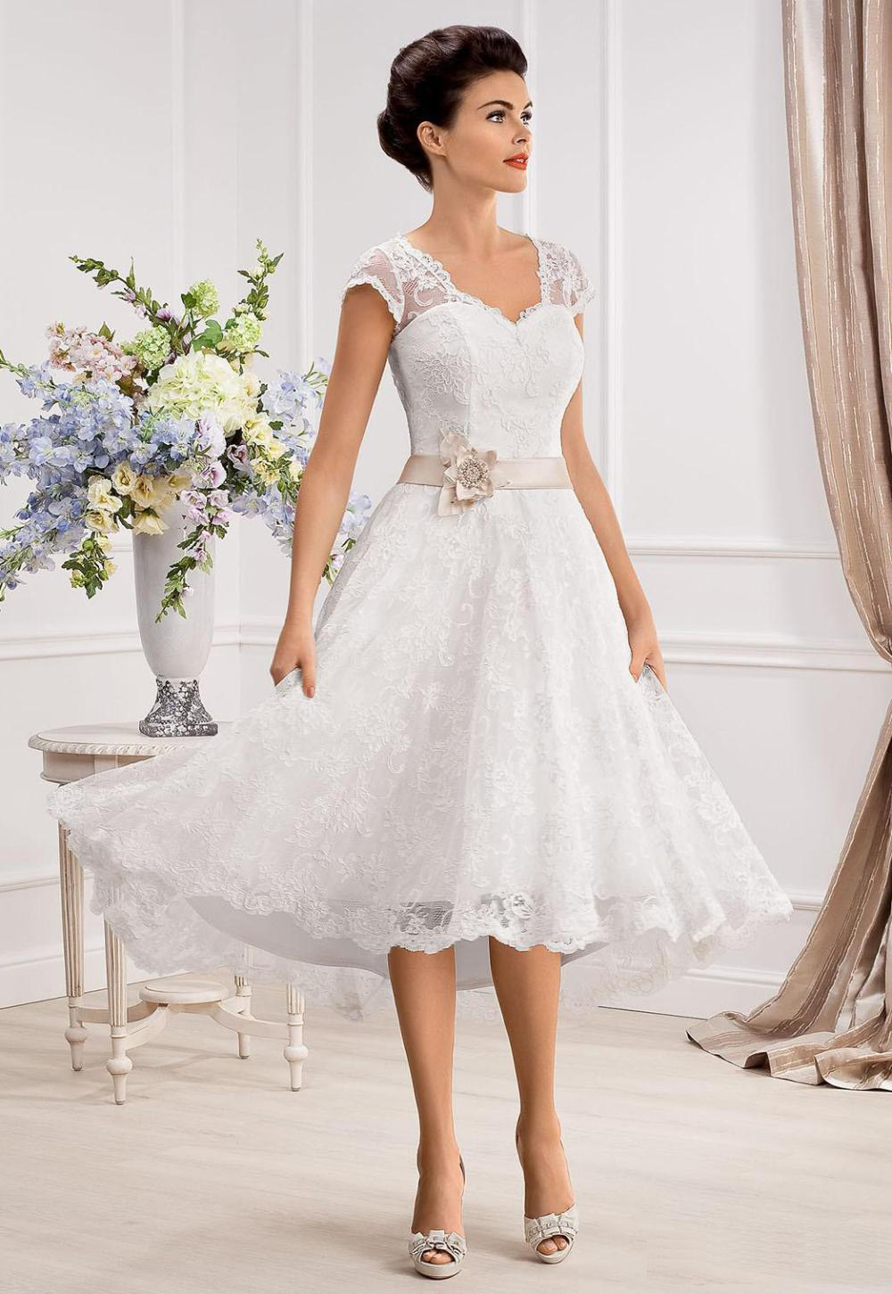 Knee Length Lace Wedding Dresses Uk