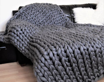 knit blanket chunky knitted blanket, natural merino wool super chunky gigantic wool  throw. 100% cruelty EAZRECO